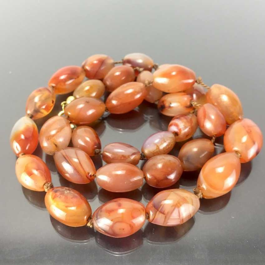 Natural stone necklace: agates in olive shape. - photo 1