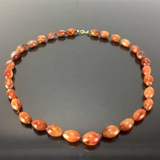 Natural stone necklace: agates in olive shape. - photo 2