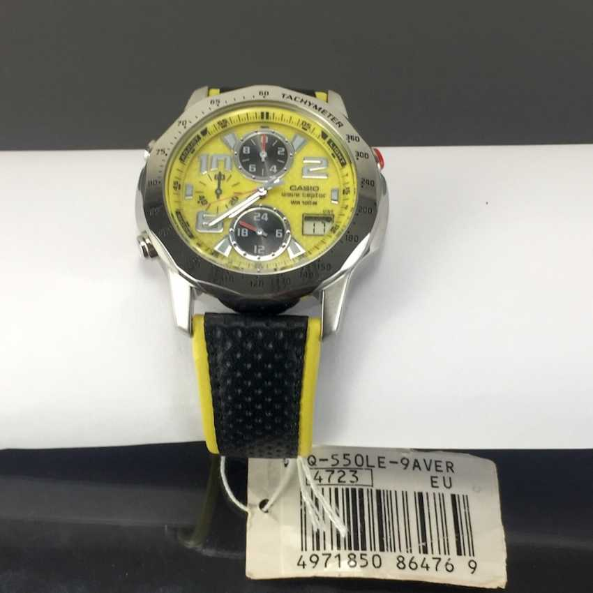 Casio Wave Ceptor WVQ-550LE-9AVER wrist watch for men. Yellow dial. Radio-controlled clock! - photo 3