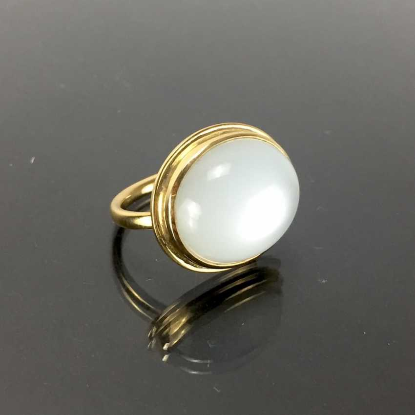 Designer Ring: yellow gold 750 with a moon stone. Unique. - photo 4
