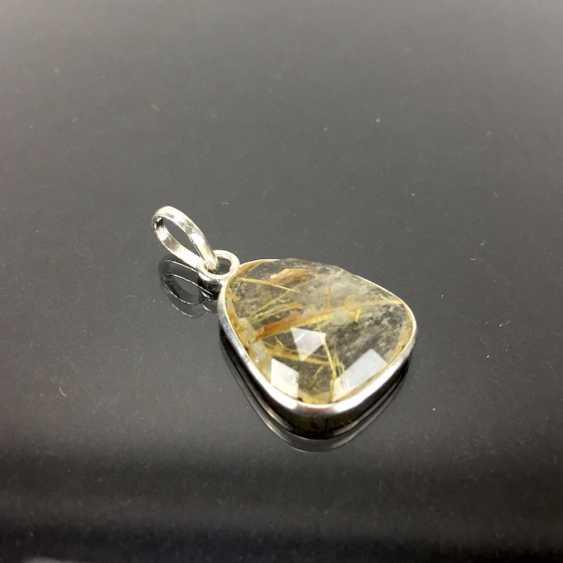 Ручной работы-кулон с рутиловым кварцем, серебро. - фото 2