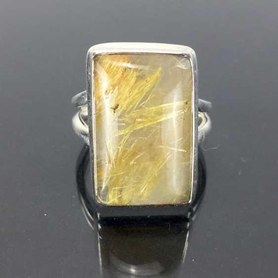 Women's ring: silver 925, rectangular rutilated quartz shoulders in smooth frame holder, split Ring, solid hand work. - photo 1