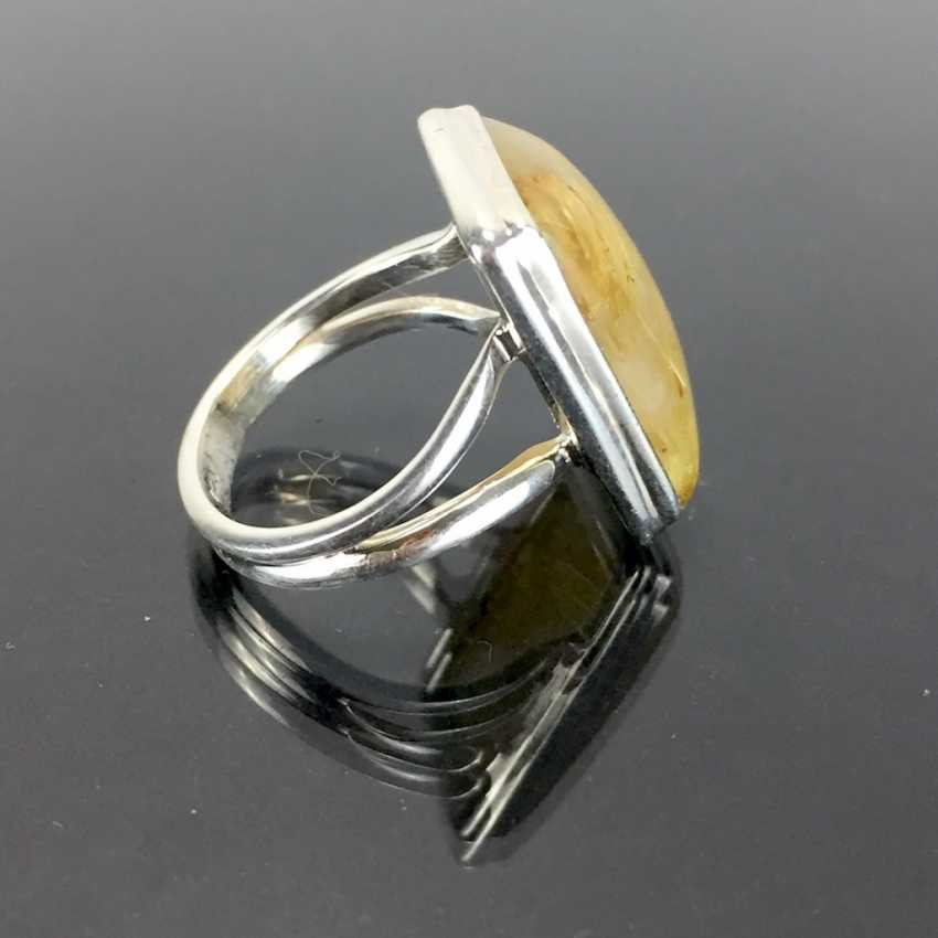 Women's ring: silver 925, rectangular rutilated quartz shoulders in smooth frame holder, split Ring, solid hand work. - photo 2