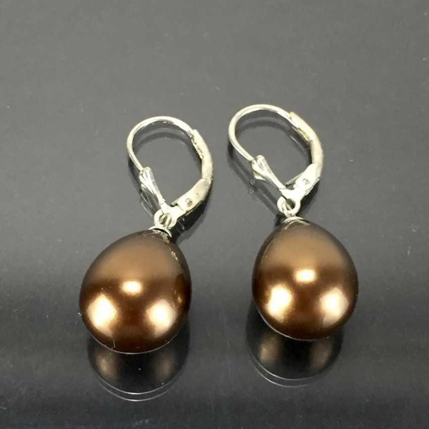 Элегантные серьги: серебро 925, родиевое покрытие, с каплевидные жемчужины, очень красиво. - фото 1
