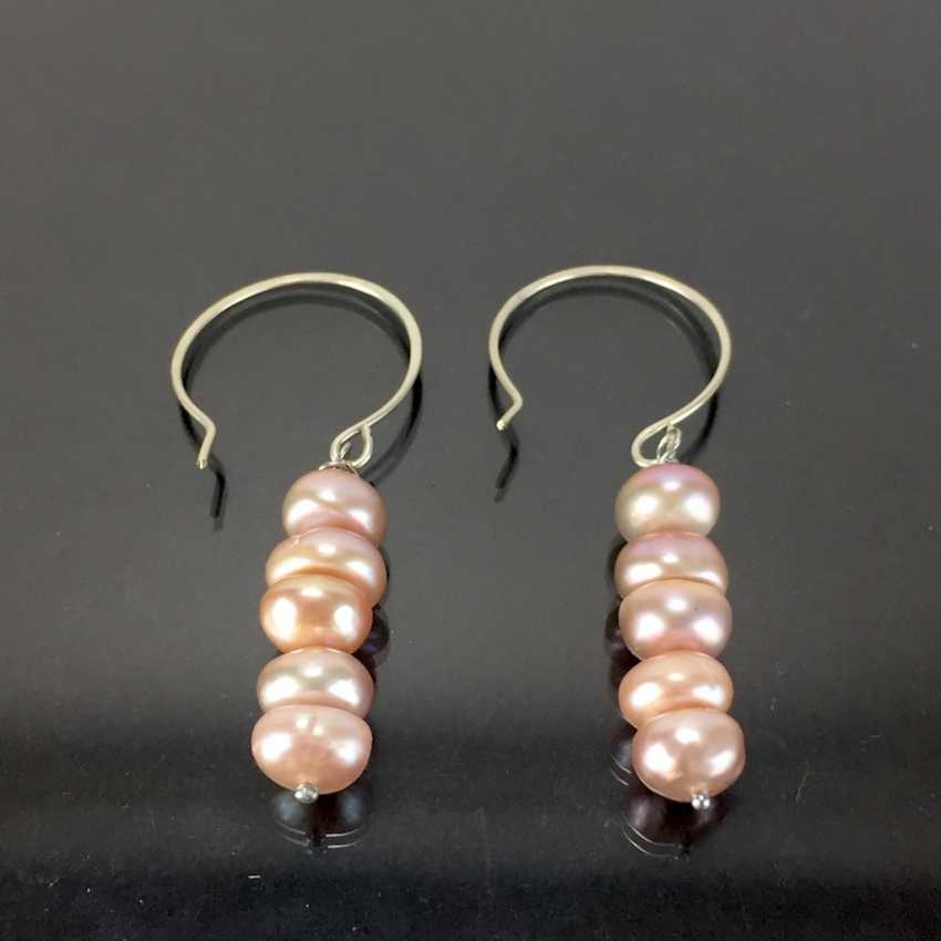 Elegant earrings: silver 925, rhodium plated, five rosé-colored beads, very beautiful. - photo 1