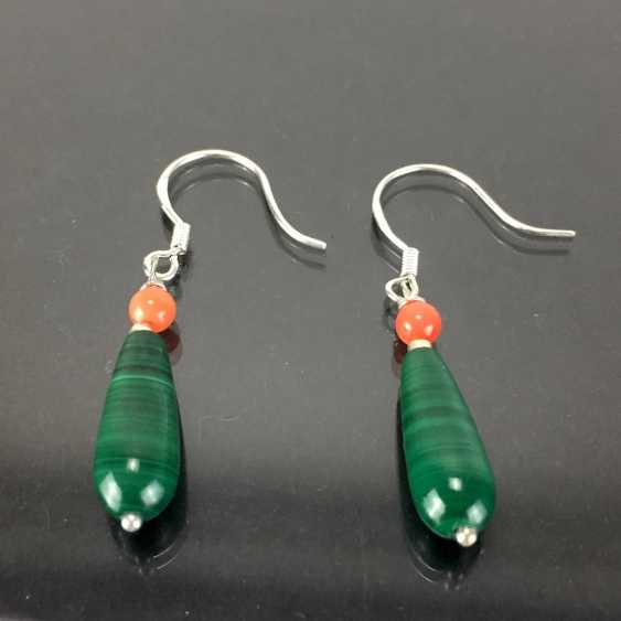 Elegant earrings: silver 925, rhodium-plated, malachite, and coral, very beautiful. - photo 1