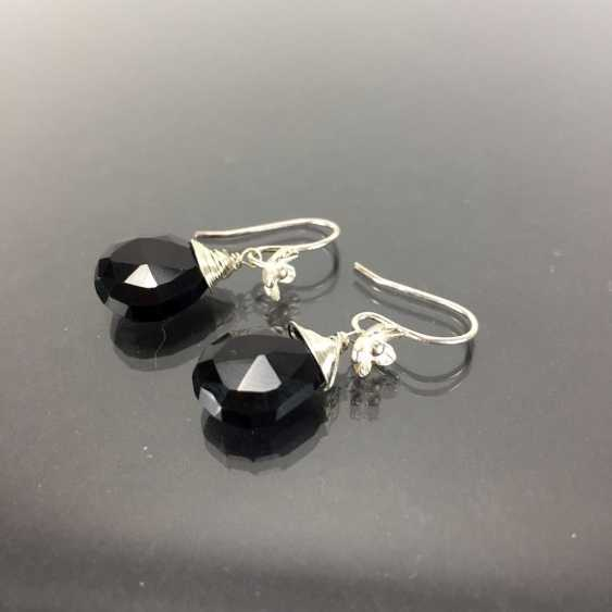 Elegant earrings: silver 925, rhodium plated, Onyx drop, very nice. - photo 1