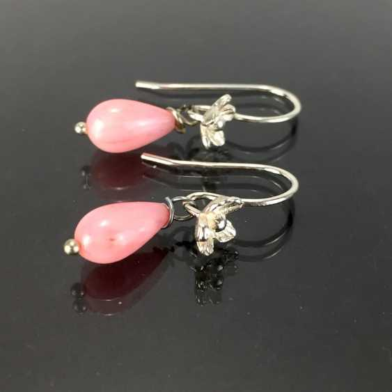 Elegant earrings: silver 925, rhodium-plated, coral drops, very nice. - photo 2