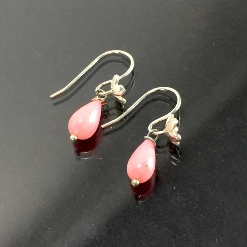 Elegant earrings: silver 925, rhodium-plated, coral drops, very nice. - photo 3