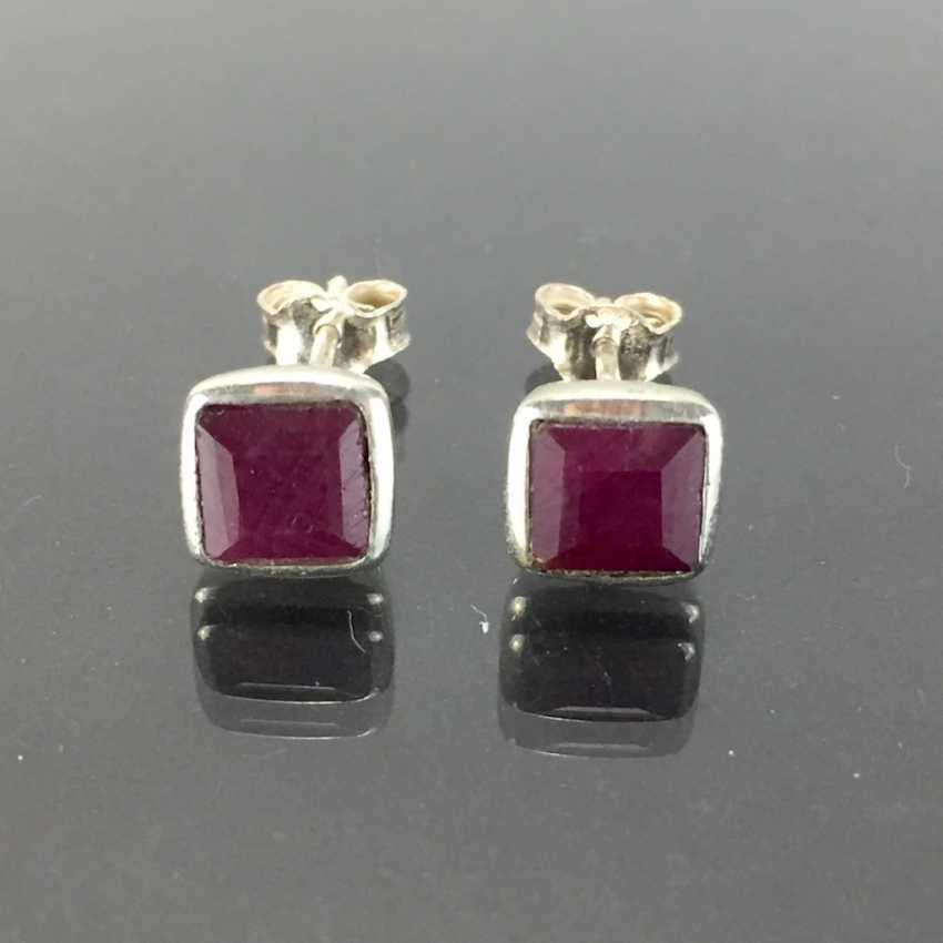 Elegant earrings: silver 925, rhodium plated, ruby, very nice. - photo 1