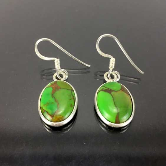 Elegant earrings: silver 925, rhodium plated, green turquoise, very nice. - photo 1