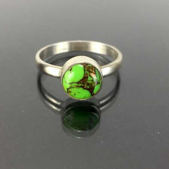 Elegant Ring: silver 925, rhodium plated, green turquoise, very nice. - photo 1