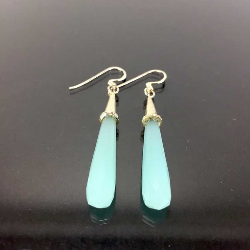 Elegant earrings: silver 925, rhodium plated, labradorite, very nice. - photo 1