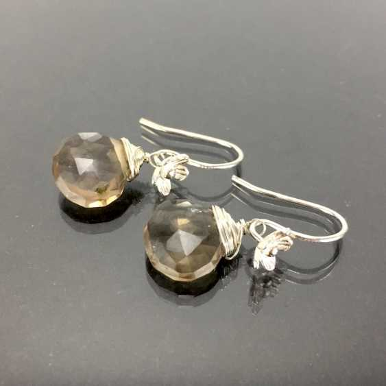 Элегантные серьги: серебро 925, с родиевым покрытием, дымчатый кварц капли, очень красиво. - фото 1