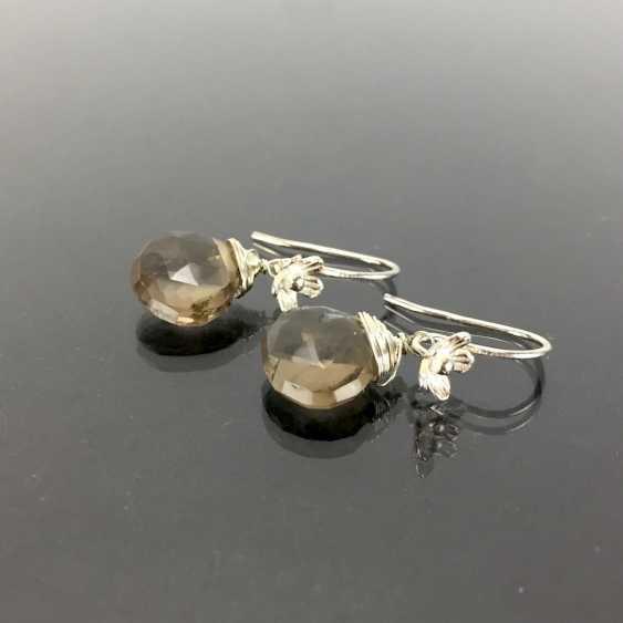 Элегантные серьги: серебро 925, с родиевым покрытием, дымчатый кварц капли, очень красиво. - фото 2