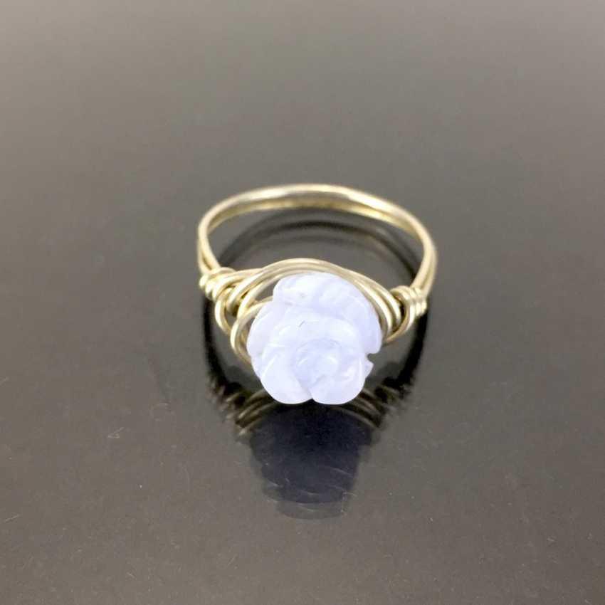 Filgran-Ring: Agate bleu clair, coupe Rosenform. En argent 925. - photo 1