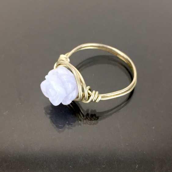 Filgran-Ring: Agate bleu clair, coupe Rosenform. En argent 925. - photo 2