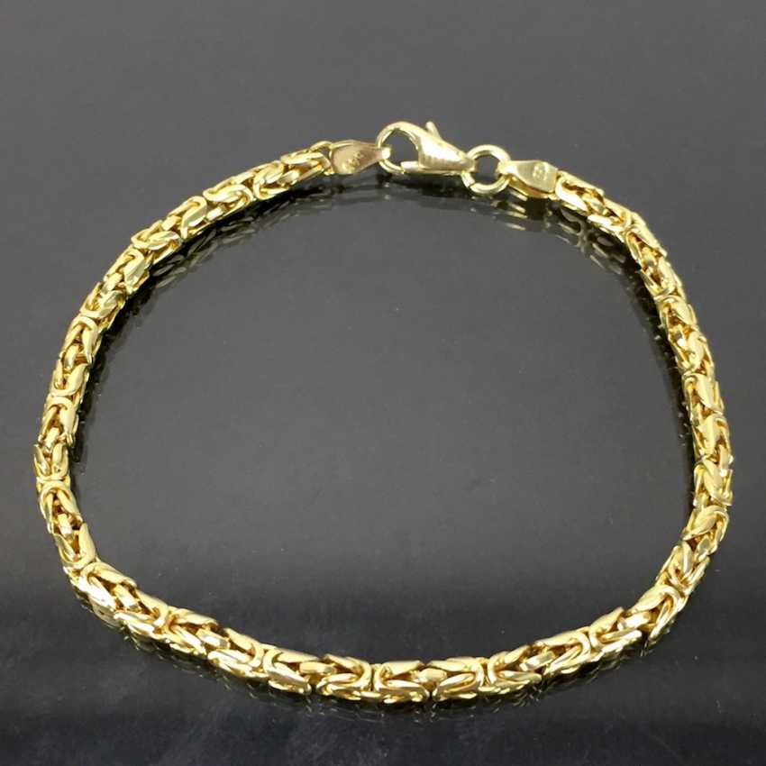 Heavy and massive king chain bracelet. Yellow gold 585. - photo 1