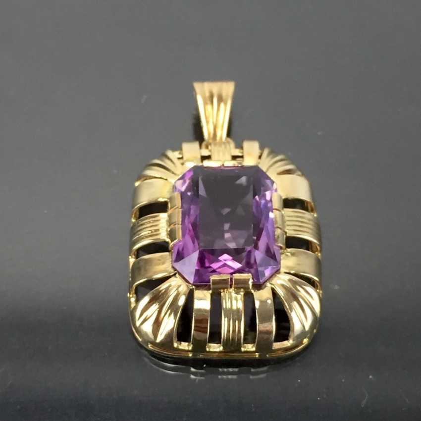 Watchable pendant with Amethyst. Yellow gold 585. Hand-work. - photo 2