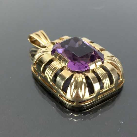 Watchable pendant with Amethyst. Yellow gold 585. Hand-work. - photo 3