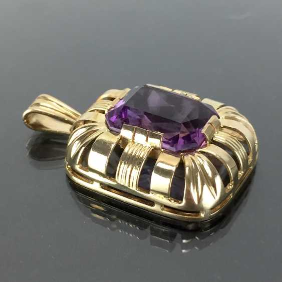 Watchable pendant with Amethyst. Yellow gold 585. Hand-work. - photo 4