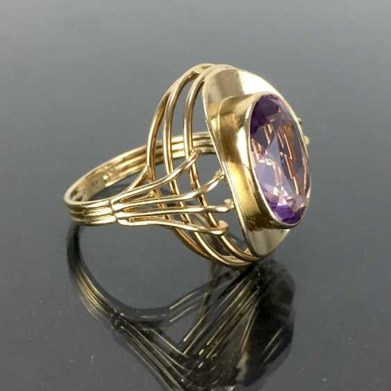 Dear ladies see the ring, with Amethyst. Yellow gold 585. Hand-work. - photo 2