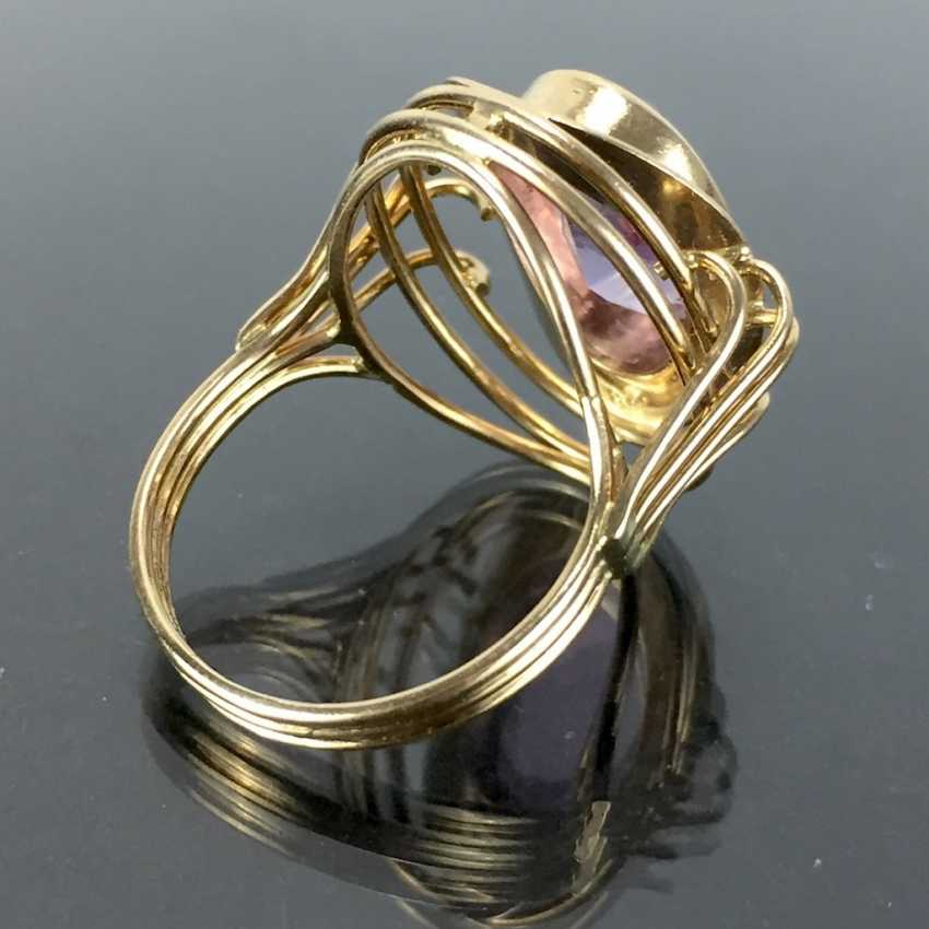 Dear ladies see the ring, with Amethyst. Yellow gold 585. Hand-work. - photo 3