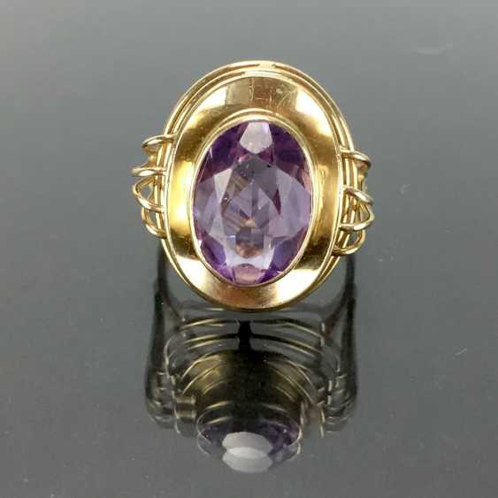 Dear ladies see the ring, with Amethyst. Yellow gold 585. Hand-work. - photo 4
