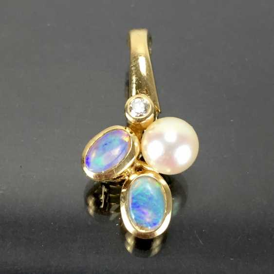 Trailer / clip trailer for the pearl necklace: yellow gold 585, opal, diamond, pearl. - photo 1