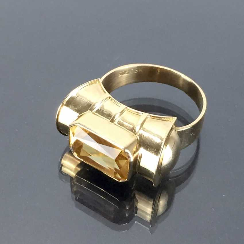 Respectable ladies ring with gold Topaz. Yellow gold 585. - photo 4