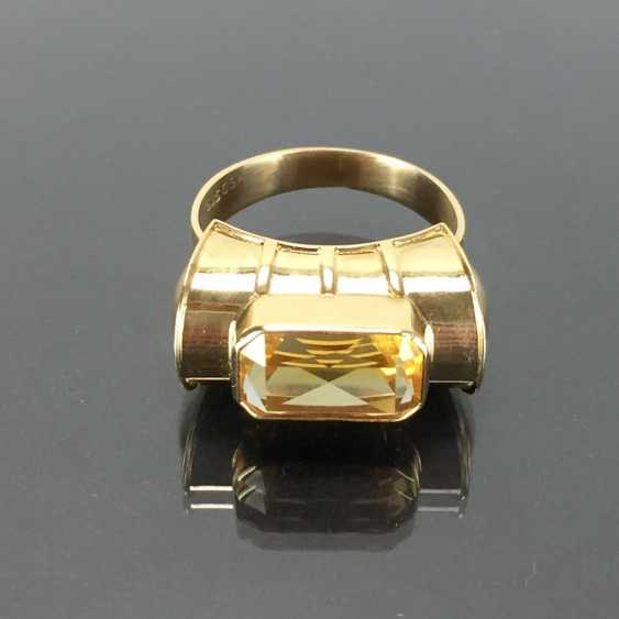 Respectable ladies ring with gold Topaz. Yellow gold 585. - photo 5