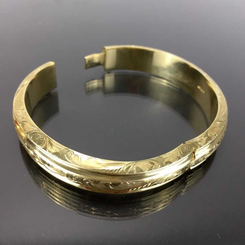 Fancy and heavy bangle bracelet: yellow gold 585, engraved, handmade. - photo 2