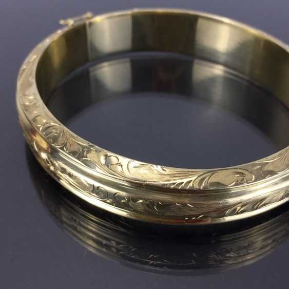 Fancy and heavy bangle bracelet: yellow gold 585, engraved, handmade. - photo 3