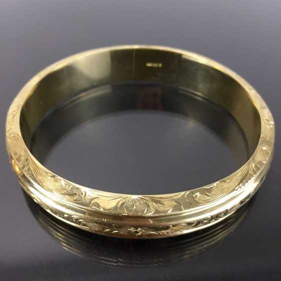 Fancy and heavy bangle bracelet: yellow gold 585, engraved, handmade. - photo 6