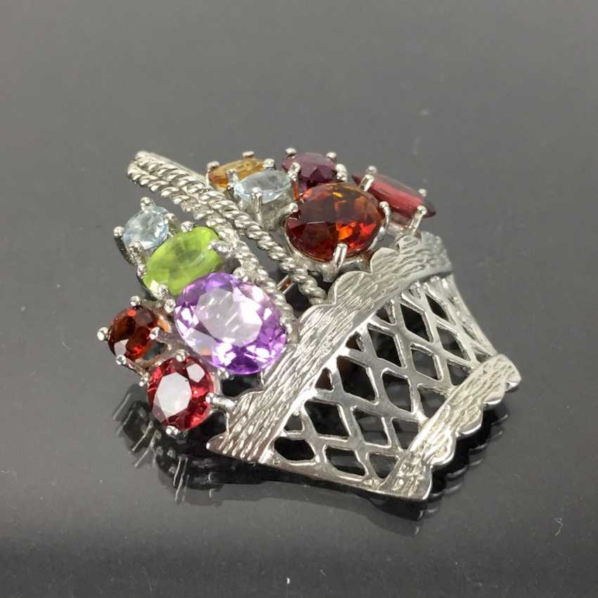 Pendant / brooch as a flower basket with color stones. - photo 1