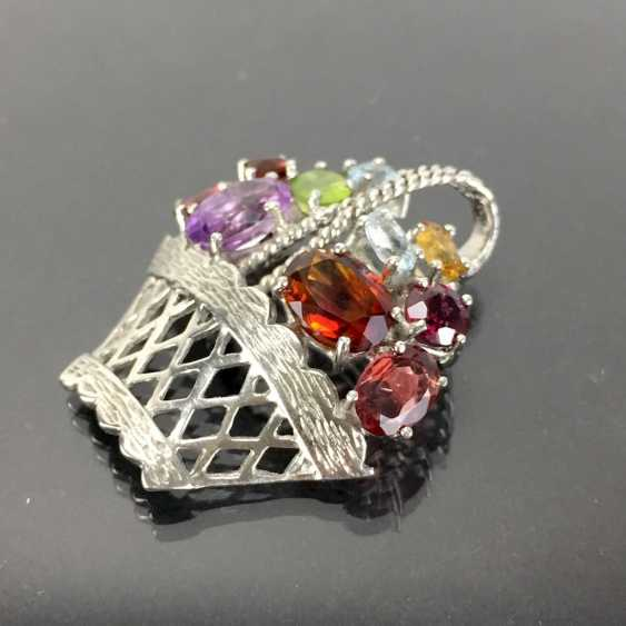Pendant / brooch as a flower basket with color stones. - photo 2