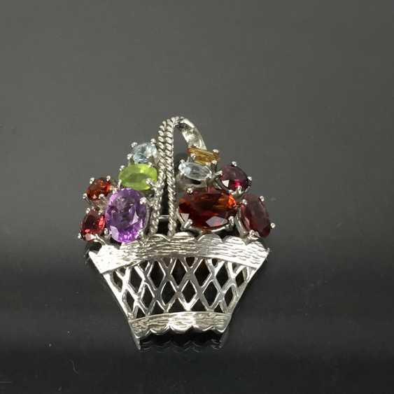 Pendant / brooch as a flower basket with color stones. - photo 3