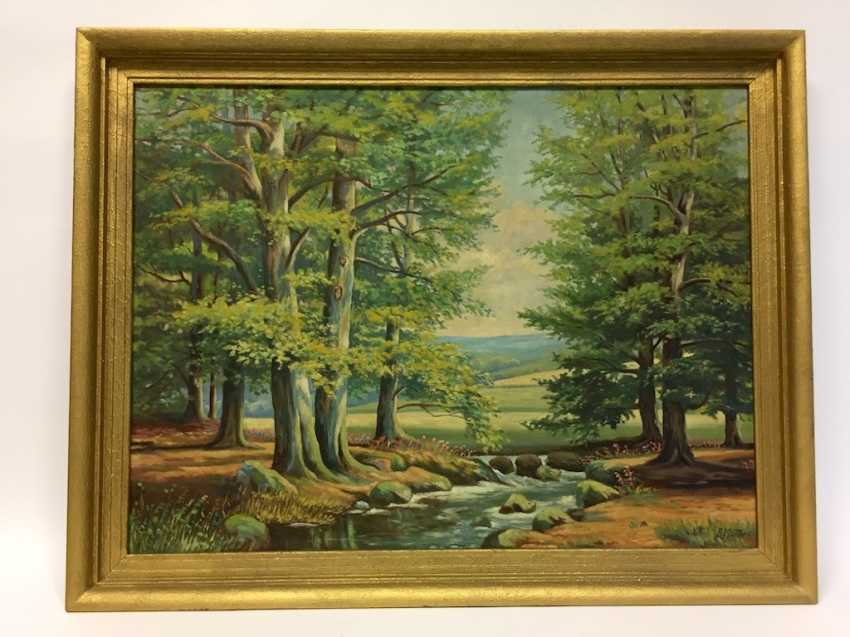 A. Matthes: Book the stream / game, in the mountains, Oil on masonite, in Golden frames, around 1950, very good. - photo 1