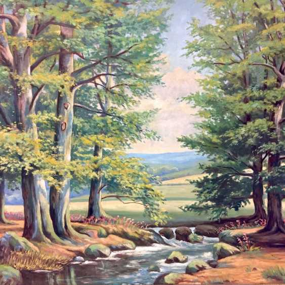 A. Matthes: Book the stream / game, in the mountains, Oil on masonite, in Golden frames, around 1950, very good. - photo 2