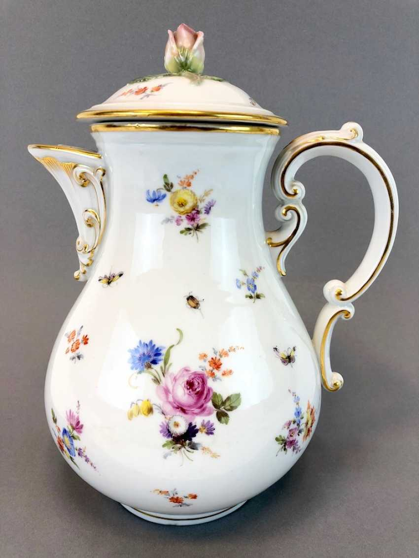 Very large and decorative coffee pot: Meissen Teichert. Flower Bouquet and scattered flowers, gold rim. Very nice. - photo 1