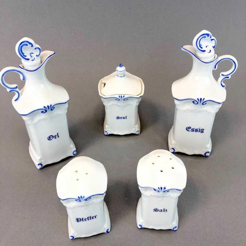 Porcelain Cruet Set: Oil, Vinegar, Salt, Pepper, Mustard. In mint condition. - photo 2