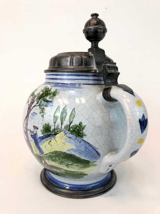 Big Ball Belly Pitcher: Faience Jug 18. Century, Tin cap, signed. - photo 2