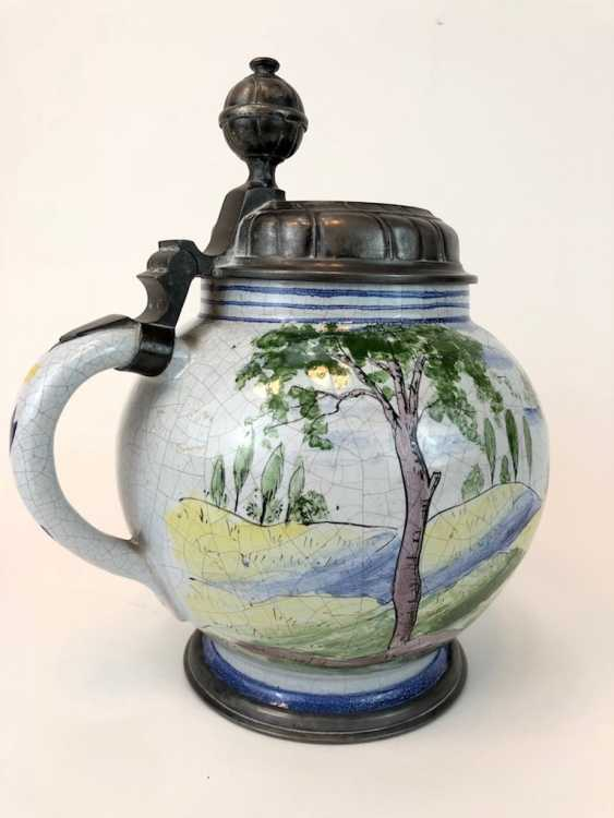 Big Ball Belly Pitcher: Faience Jug 18. Century, Tin cap, signed. - photo 3