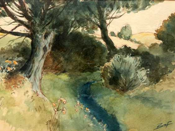 Banzhaf: landscape with river. Watercolor. - photo 1