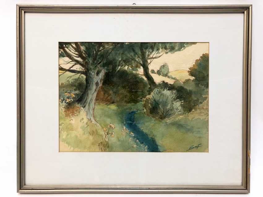 Banzhaf: landscape with river. Watercolor. - photo 2
