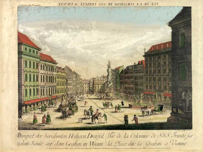 "Graben in Vienna: ""the Prospect of the famous Holy Dreyfaltigkeits column on the Graben in Wienn"". Copper engraving, 1770. - photo 1"