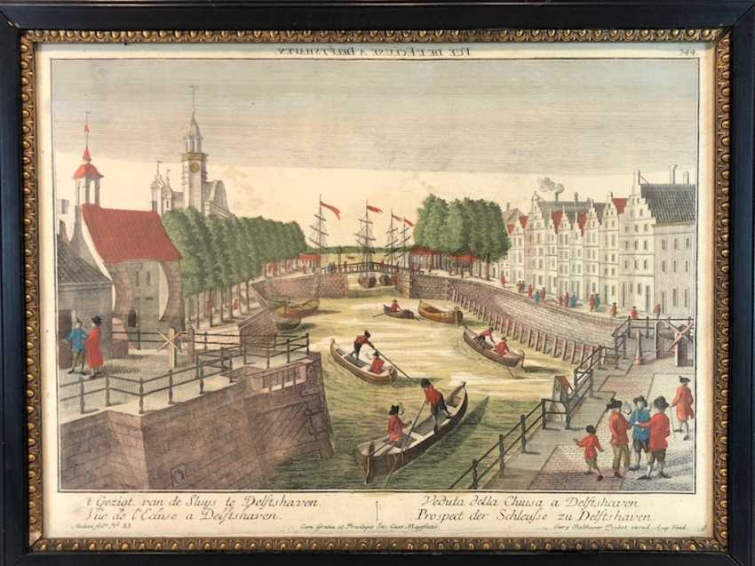 "Georg Balthasar Probst: ""the Prospect of the lock to Delft-haven,"". Copper engraving, 1770. - photo 1"