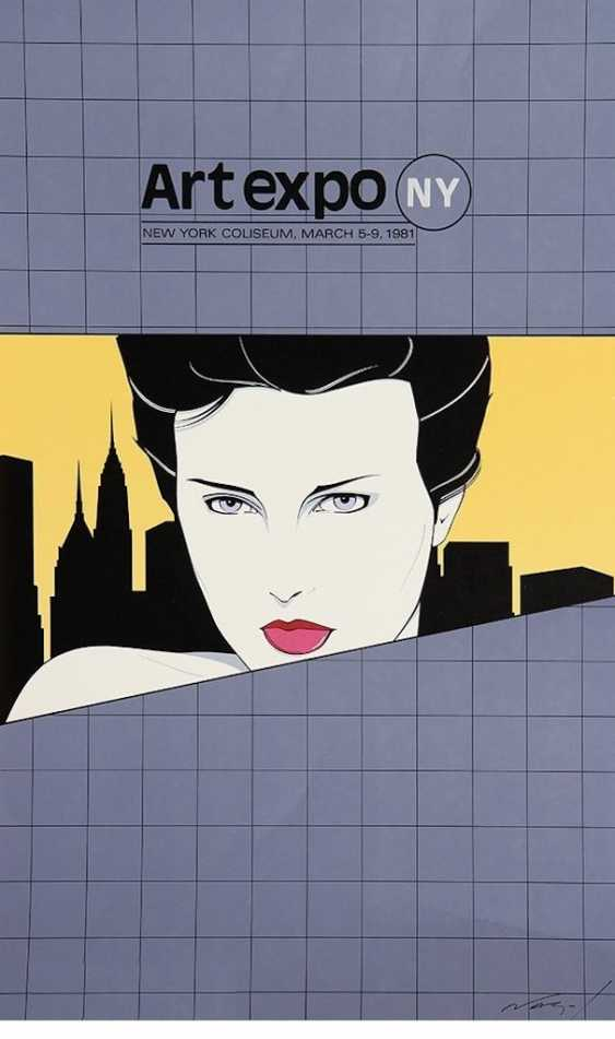 "Patrick Nagel (1945-1984): Very rare lithography of the International art exhibition ""ART EXPO"". New York, 1981. - photo 1"