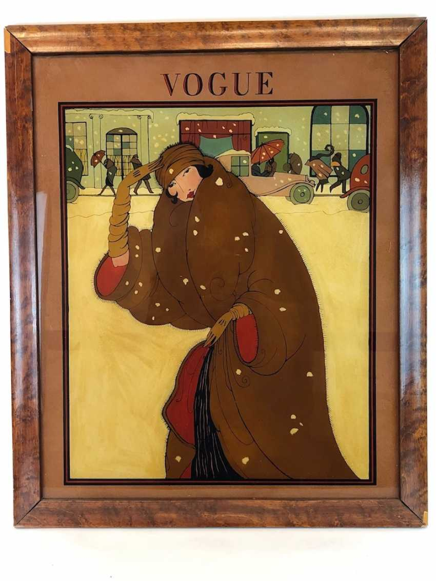 Very rare Galsbild: VOGUE. Glass House Painting, England. In order to 1920. Rarity. - photo 1