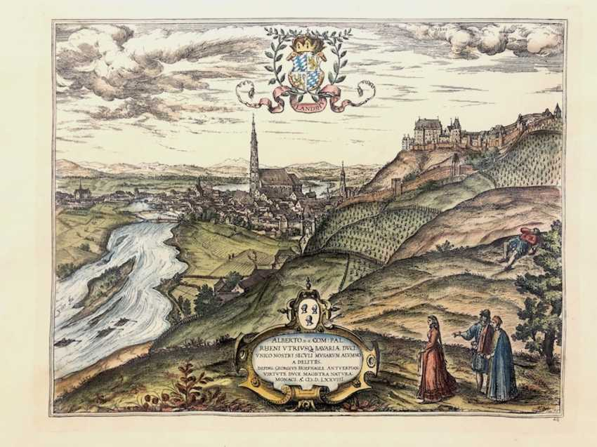 Georgius Hoefnagle: Prospect of the city of Landshut. Print early 20. Century, after the presentation of 1578. - photo 1